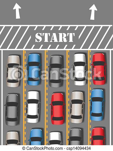 voitures, voyage, trafic, voyage, début - csp14094434