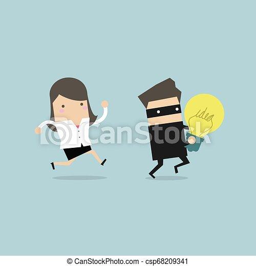 volé, chasser, femme affaires, voleur, idée, courant, hands. - csp68209341