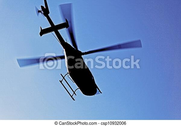 vol, hélicoptère, silhouette - csp10932006