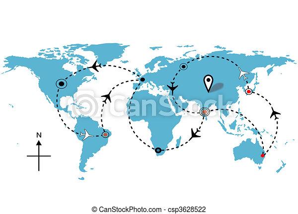 vol, plans, voyage, connexions, mondiale, avion - csp3628522