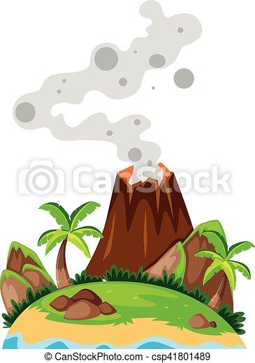 Volcan Isla Volcan Ilustracion Isla