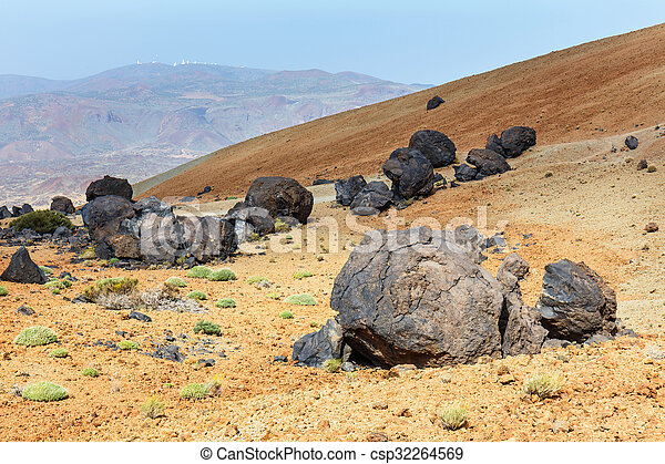 Bombas volcánicas en Montana Blanca, Teide National Park, Tenife, Canary Islands, Spain - csp32264569