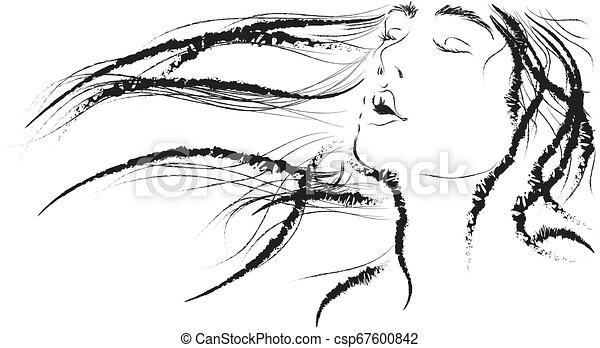 La belleza con el vector de contorno de cabeza volcado. - csp67600842