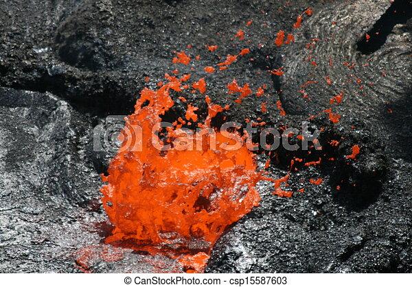 Volcano Erta Ale in Ethiopia Lava bubble - csp15587603