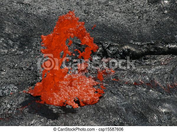 Volcano Erta Ale in Ethiopia Lava bubble - csp15587606