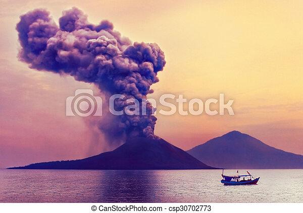 Volcano eruption. Anak Krakatau, Indonesia - csp30702773