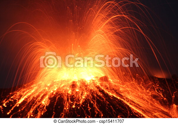 volcano Eruption at night - csp15411707