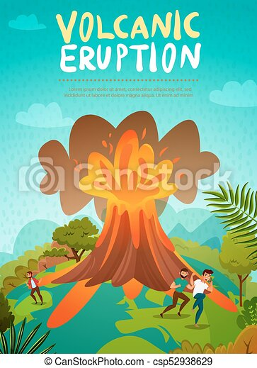 Image Of A Volcano On A Light Blue Background. Vector Illustration..  Royalty Free Cliparts, Vectors, And Stock Illustration. Image 138386294.
