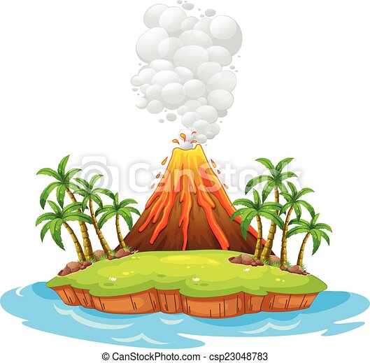 volcano island volcano on an island with smoke vector search clip rh canstockphoto com clipart volcano pictures clipart volcanologist
