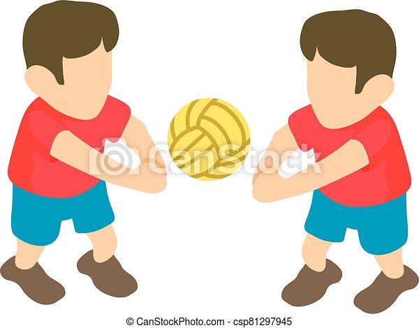 voleibol, estilo, isométrico, icono, jugador - csp81297945