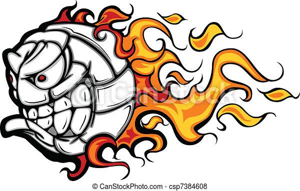 Bola de voleibol en llamas, vector facial - csp7384608