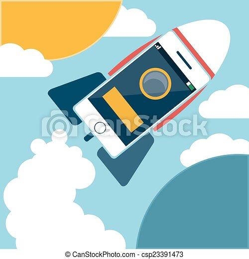 voler, ciel, fusée, espace - csp23391473