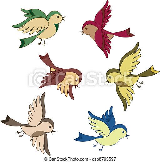 Voler ensemble dessin anim oiseau ensemble voler isol oiseau vecteur dessin anim - Oiseau mouche dessin ...