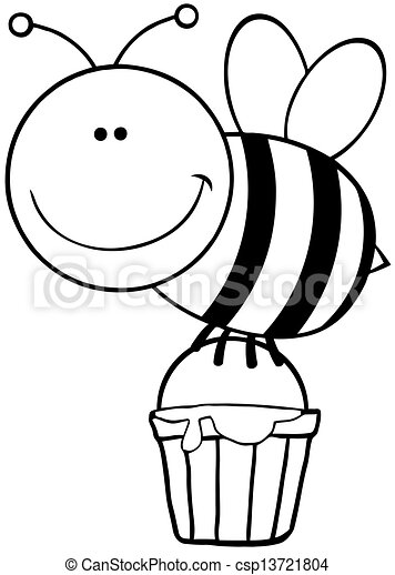 voler, esquissé, abeille - csp13721804