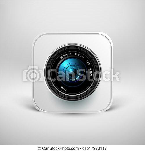 volet, appareil-photo photo, lentille, icône - csp17973117