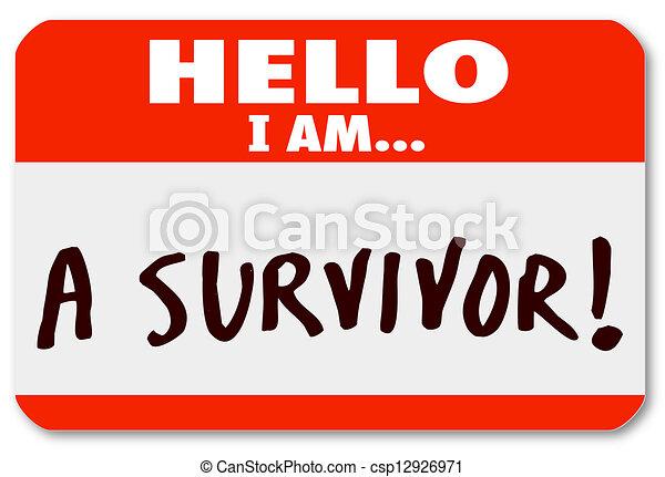 volharding, levend, overlevende, nametag, ziekte, hallo - csp12926971