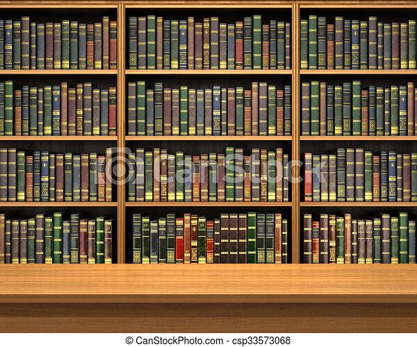 Bücherregal mit büchern  Voll, alte bücher, hintergrund, bücherregal, tisch, library.