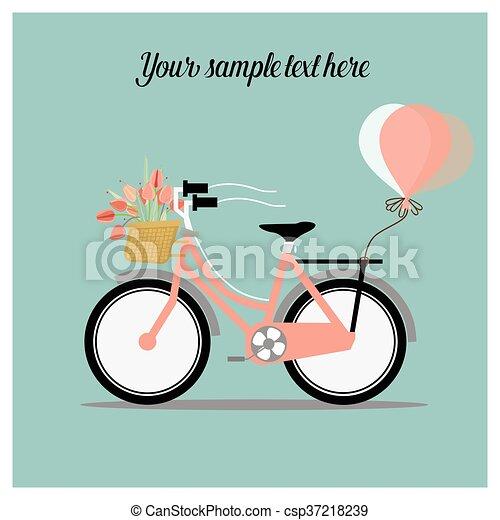 Voll Fahrrad Hochzeitskarten Korb Blumen Karte