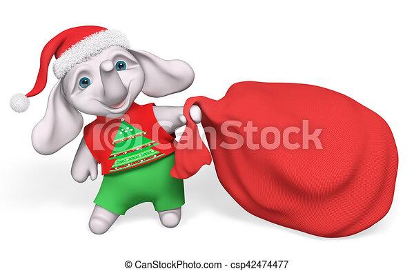 Weihnachtsgeschenke Sack.Voll Groß Zeichen Sack Weihnachtsgeschenke übertragung Tragen Elefant Karikatur Rotes 3d