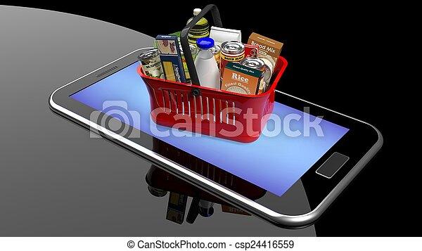 d3ebf46c568387 voll, shoppen, smartphone/tablet, schirm, hand, produkte, korb -