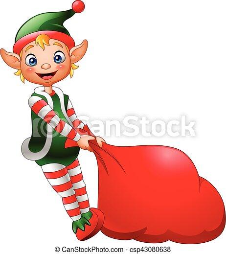 voll, weihnachtshelfer, geschenke, tasche, ziehen, karikatur - csp43080638