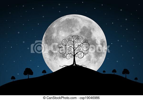 volle, bomen, maan, vector, illustratie, sterretjes - csp19046986
