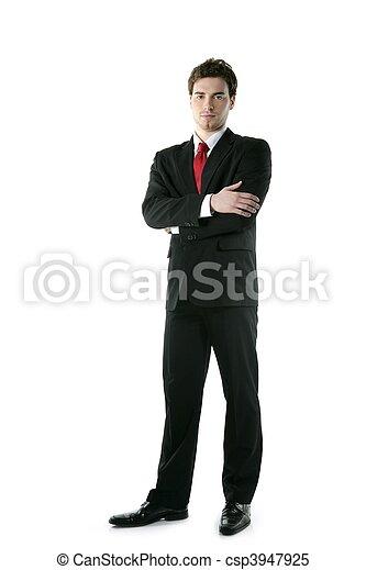 volle, vastknopen, lengte, het poseren, stander, kostuum, zakenman - csp3947925