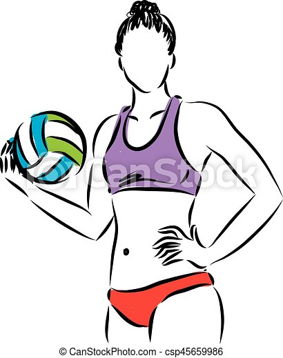 volley beach woman player illustration eps volley beach vector rh canstockphoto ca beach volleyball clipart png beach volleyball clipart free