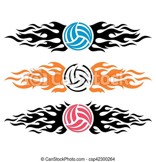 volleyball ball flaming vector logo templates volleyball clip rh canstockphoto ie