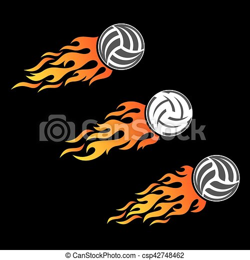 volleyball ball flaming vector logo designs volleyball ball flaming