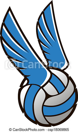 vector cartoon illustration of a volleyball ball with wings clip rh canstockphoto com