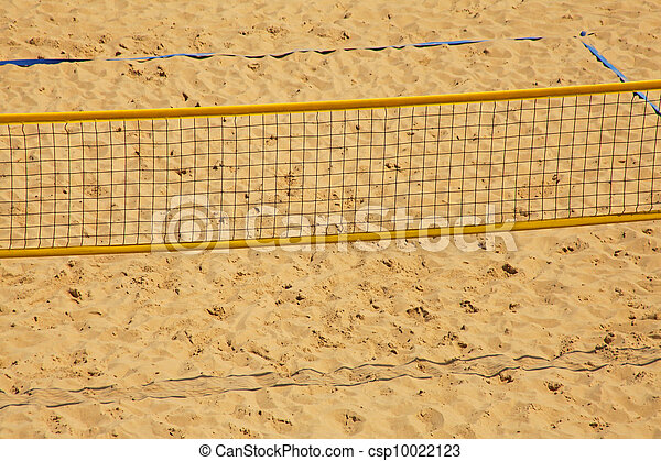 Volleyball chair and net on the beach  - csp10022123