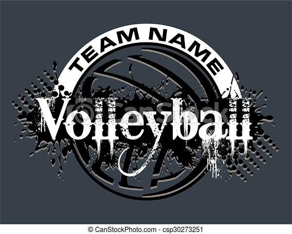 Line Design Clipart Free : Volleyball design distressed team with