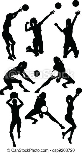 Volleyball Female Silhouettes in Athletic Poses - csp9203720