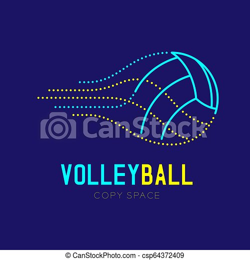 Volleyball logo icon outline stroke set dash line design illustration isolated on dark blue background with Volleyball text and copy space, vector eps 10 - csp64372409