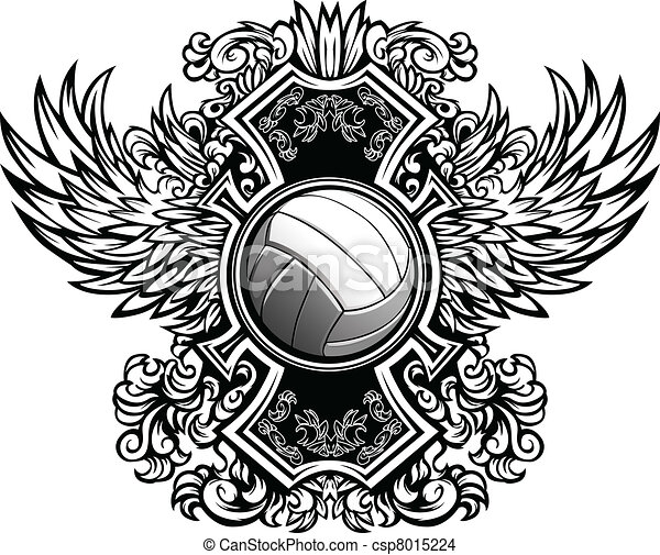Volleyball Ornate Graphic Vector Te - csp8015224