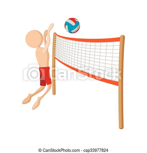 Volleyball Player Cartoon Icon On A White Background Canstock