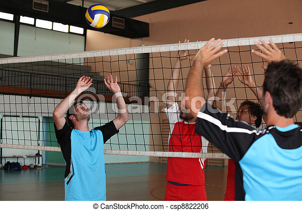 Volleyball players on indoor court.