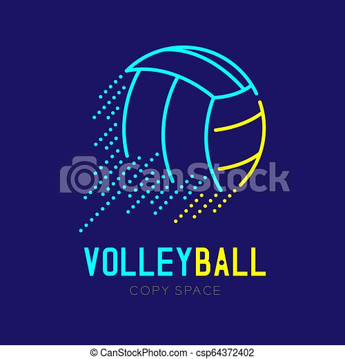 Volleyball rushing logo icon outline stroke set dash line design illustration isolated on dark blue background with Volleyball text and copy space, vector eps 10 - csp64372402
