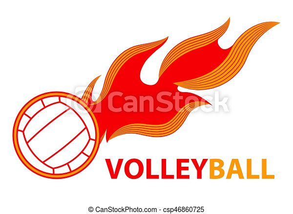 Volleyball Sport Comet Fire Tail Flying Logo Fire Volleyball Flame Ball Logo Game Sport Team Vector Illustration