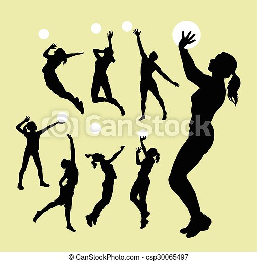 Volleyball Sport Silhouettes Male And Female Playing Volleyball