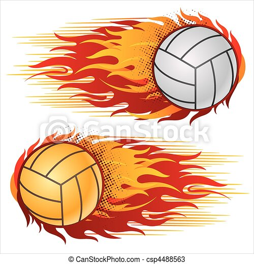 volleyball with flames flame volleyball design element