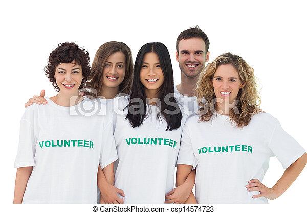 volontaire, gens, tshirt, groupe, porter - csp14574723