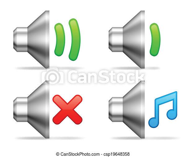 volume, áudio, icons. - csp19648358