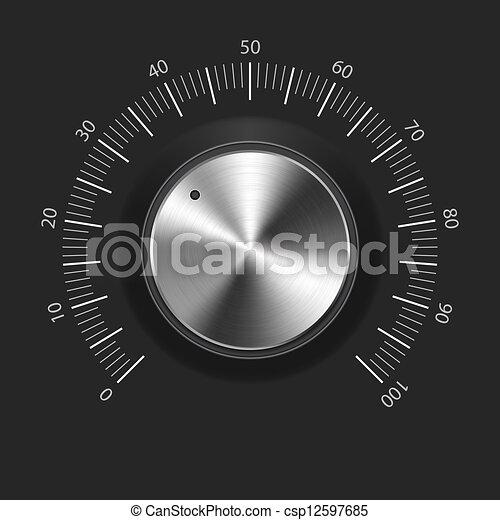 Volume button (music knob) with metal texture (chrome) - csp12597685