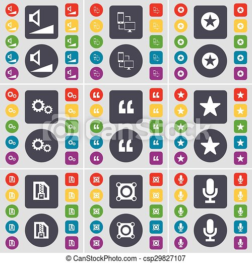 Volume, Connection, Star, Gear, Quotation mark, Star, ZIP file, Speaker, Microphone icon symbol. A large set of flat, colored buttons for your design. Vector - csp29827107