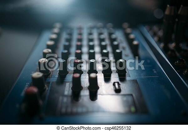 Volume control panel, sound board closeup