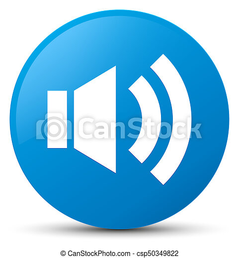 Volume icon cyan blue round button - csp50349822