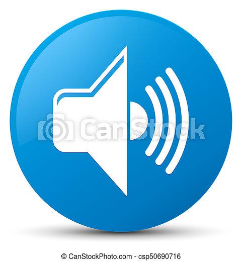 Volume icon cyan blue round button - csp50690716