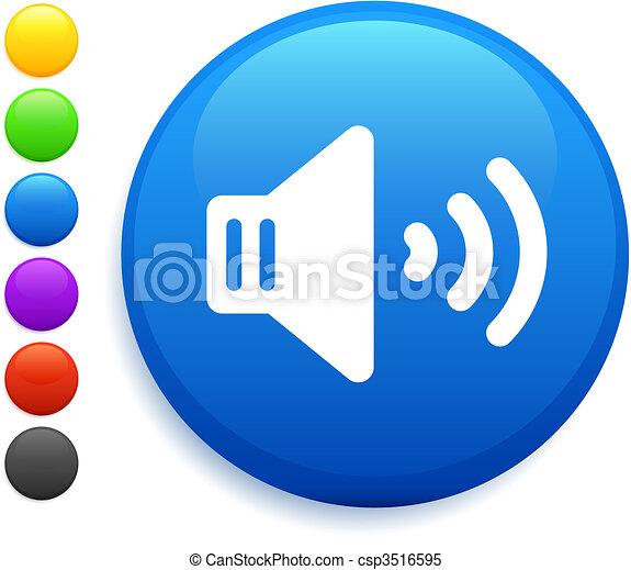 volume icon on round internet button - csp3516595